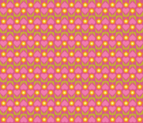 Floral Heart Stripe - Pink fabric by oliveandruby on Spoonflower - custom fabric