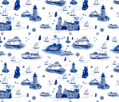 Beaver Island Toile China Blue fabric by bags29 on Spoonflower - custom fabric