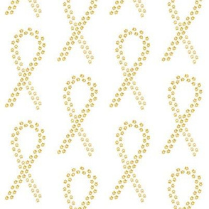 Gold Pawprint Ribbon