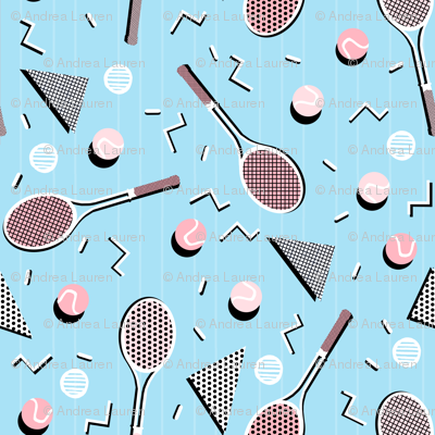 80s Tennis Lesson Blue & Pink - by Andrea Lauren