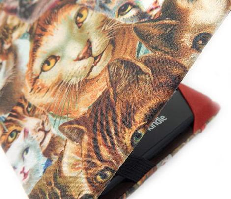 clowder of crazy cat heads fabric