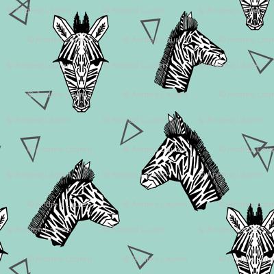 Zebras - Pale Turquoise by Andrea Lauren