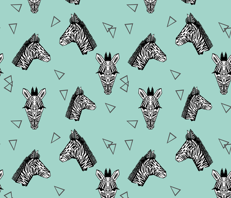 Zebras - Pale Turquoise by Andrea Lauren fabric by andrea_lauren on Spoonflower - custom fabric