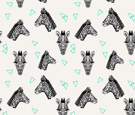 Zebras - Off-White/Jade by Andrea Lauren fabric by andrea_lauren on Spoonflower - custom fabric