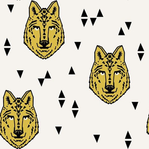wolf // yellow on cream wolves wolf animal head kids boys room