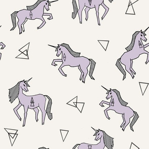 unicorns // unicorn pastel lavender off-white background girls sweet unicorn fabric