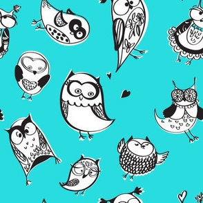 Owls in sketchy style