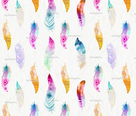Watercolor feathers - Rainbow - boho
