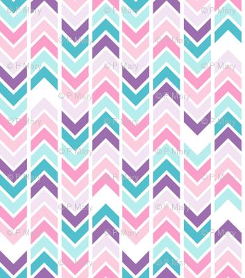 Herringbones - blue and pink