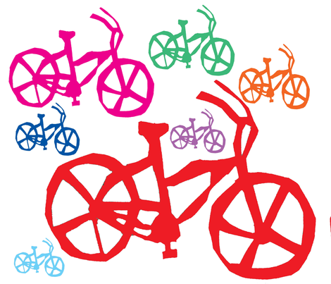 colored bikes fabric by vibrantkicks on Spoonflower - custom fabric
