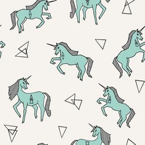 unicorn // mint cute girls sweet mint unicorn fabric