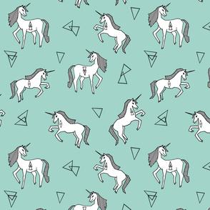 unicorn // mint and white triangles cute girls sweet pastel unicorn fabric