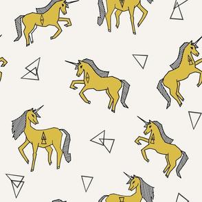 unicorns // unicorn mustard yellow cute girls unicorn fabric sweet girls