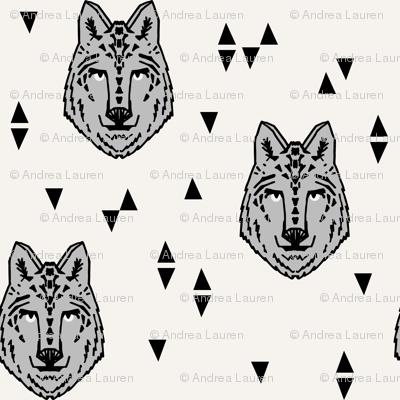wolf // grey on cream wolves kids boys wolf face animals animal head cute animal design for boys