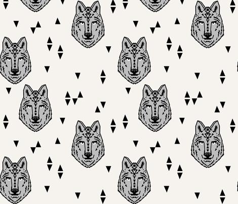wolf // grey on cream wolves kids boys wolf face animals animal head cute animal design for boys fabric by andrea_lauren on Spoonflower - custom fabric