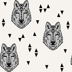 wolf // grey on cream wolves kids boys wolf face animals animal head cute animal design for boys