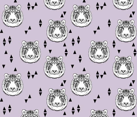 Tiger - White/Lavender by Andrea Lauren fabric by andrea_lauren on Spoonflower - custom fabric