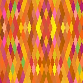 Orange Multicolor Harlequin Geometric