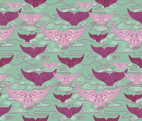 Whales_in_sage_green fabric by house_of_heasman on Spoonflower - custom fabric