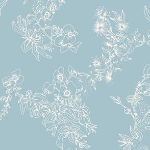 Flower Girls Floral - Blue & Cream