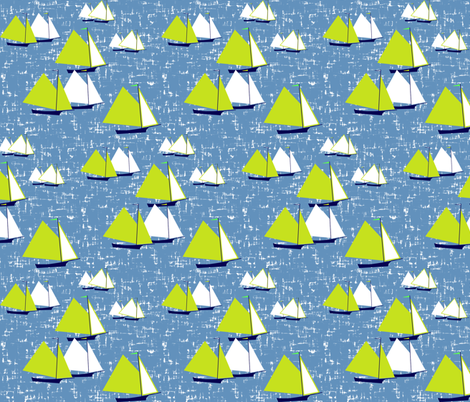 Racing gaff-rigged skiffs, green on gray-blue by Su_G fabric by su_g on Spoonflower - custom fabric