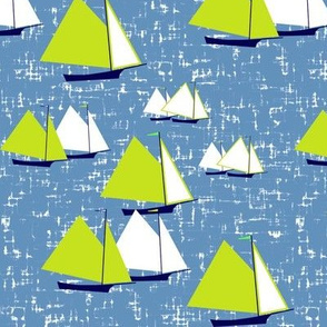Racing gaff-rigged skiffs, green on gray-blue by Su_G