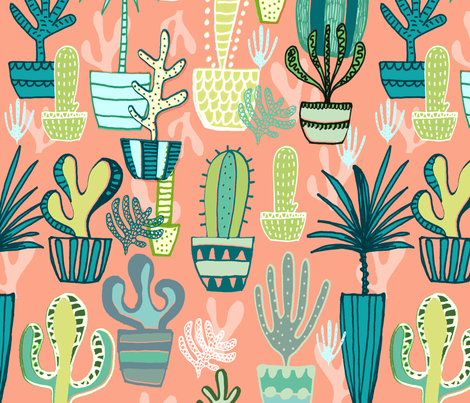 Potted Cacti fabric by slumbermonkey on Spoonflower - custom fabric