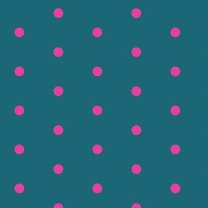 Polka Dots - Teal/Pink