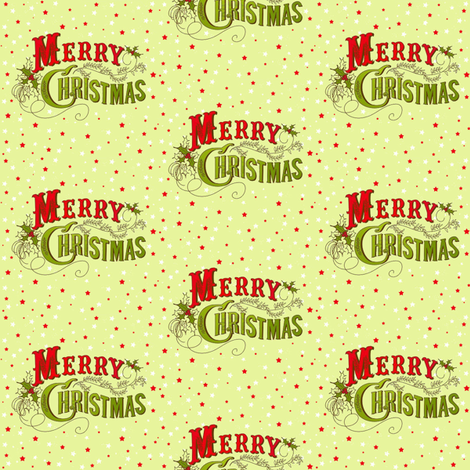Fancy Merry Christmas Red stars fabric by parisbebe on Spoonflower - custom fabric