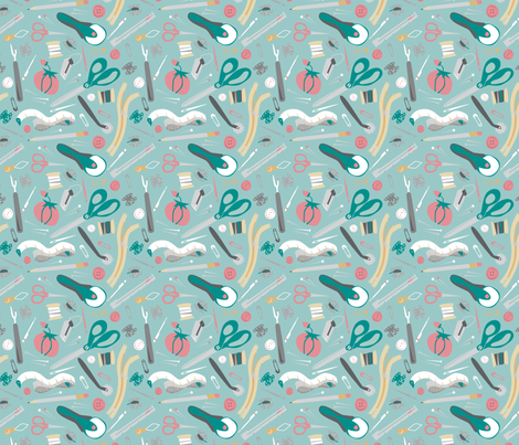 Sewing Notions - Tossed fabric by electrogiraffe on Spoonflower - custom fabric