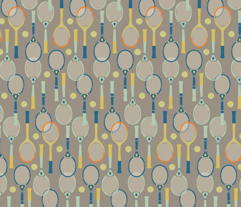 Belle Isle Vintage Tennis Large fabric by twoifbyseastudios on Spoonflower - custom fabric