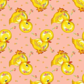 Rubber Duckie Floral Pink