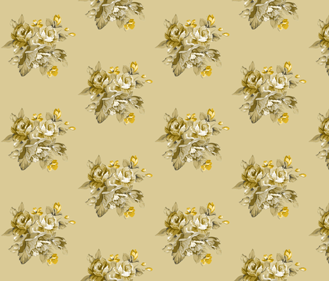 Old Cream and Gold Roses fabric by sew_delightful on Spoonflower - custom fabric