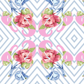 Blue & Pink Retro Roses