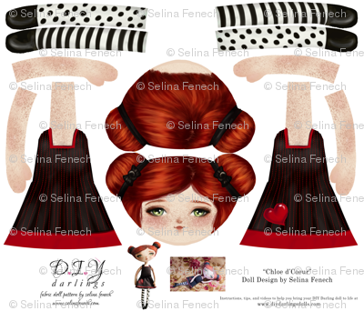 Cut and Sew Doll Pattern Chloe d'Coeur
