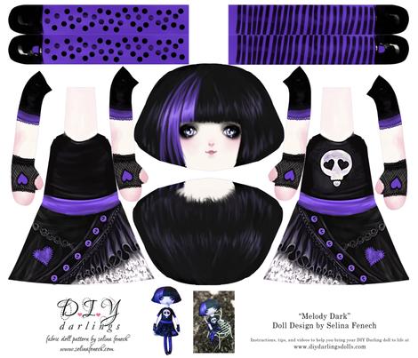 Cut and Sew Goth Doll Melody Dark fabric by selinafenech on Spoonflower - custom fabric