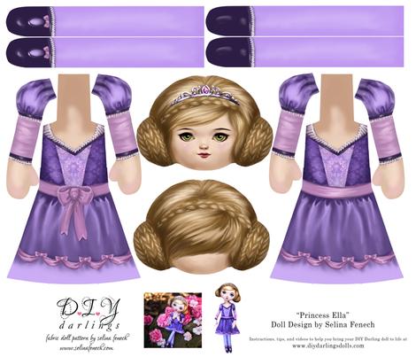 Cut and Sew Doll Princess Ella fabric by selinafenech on Spoonflower - custom fabric