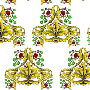Major Gold Fleur De Lis with Roses