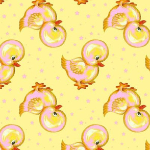 pink/yellow Baby Rubber Duckies n Stars