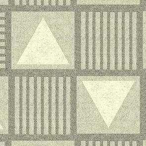 Pyramids - khaki grey/green, cream