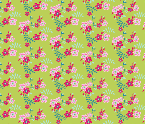 floral sprig green fabric by vickythorndale on Spoonflower - custom fabric
