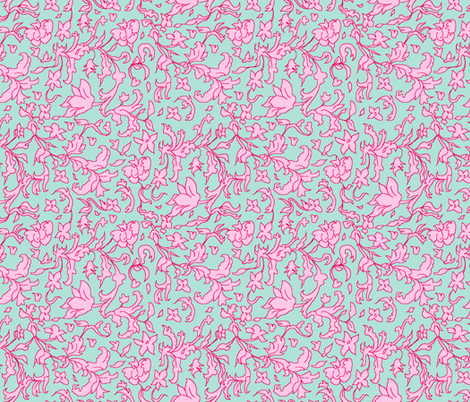 hedgerow blue and pink fabric by vickythorndale on Spoonflower - custom fabric