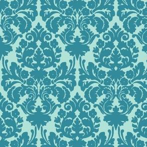 floral damask teal