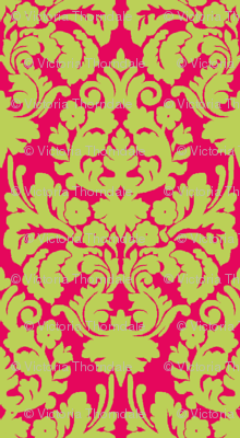 Floral damask green