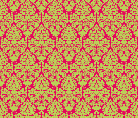 Floral damask green fabric by vickythorndale on Spoonflower - custom fabric
