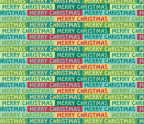Colorful Merry Christmas Text fabric by brendazapotosky on Spoonflower - custom fabric