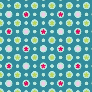 Ditsy dotty flowers teal