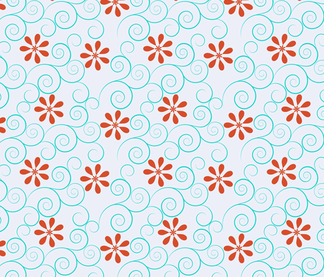 red flowers and wirls fabric by suziedesign on Spoonflower - custom fabric