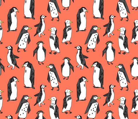 penguins // light orange penguin pingu bird birds kids nursery antarctic  fabric by andrea_lauren on Spoonflower - custom fabric