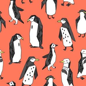 penguins // light orange penguin pingu bird birds kids nursery antarctic